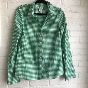 Jcrew Holiday Green and white checkered shirt sZ 8